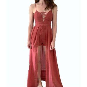 UK2LA Coral Chiffon Romper Maxi Dress Brand New
